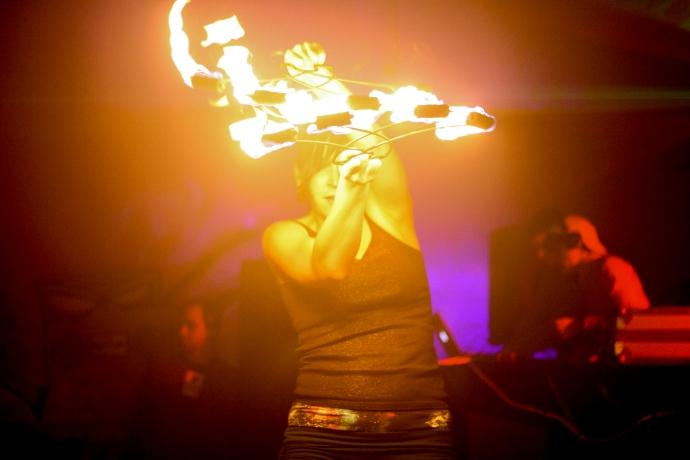 Fire fan dancer in Lansing, MI